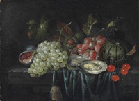 grapes, oysters, chestnuts, a fig and cherries on a partially draped stone ledge by jan pauwel gillemans the elder