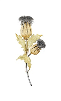 gold and silver thistle brooch by buccellati