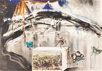 new york central park winter (from currier & ives as interpreted by salvador dali) by salvador dalí