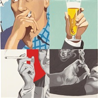 mens hands (beer glass) by julia jacquette