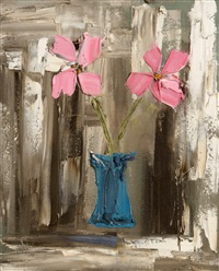 pink flowers in a blue vase by colin flack