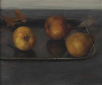 pears on a tray by walter vaes