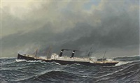 the dutch steamer vaderland on a choppy sea by antonio jacobsen