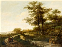 landscape with village path and men by pieter jansz van asch