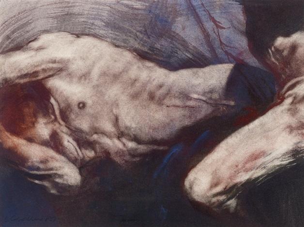 torse allongé (fond bleu) by luis caballero