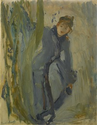 jeune fille remettant son patin by berthe morisot