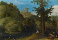 a hermit with two travellers in a wooded landscape by johann (hans) konig