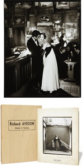 richard avedon: made in france; suzy parker and gardner mckay, dress by balmain, café des beaux-arts, paris (2 works) by richard avedon