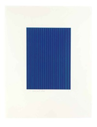 ultramarine blue (light) on cerulean blue #9 (from etched lines) by ian davenport