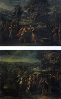 rebecca al pozzo (+ abramo e i tre angeli; pair) by italian school-ferrara (17)