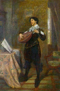 the mandolin player by jacques-henri-jean lambert