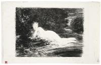 étude de femme couchée au bord d'un bassin by henri fantin-latour