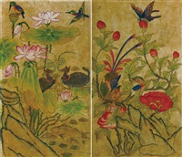 flowers and birds (2 works) by anonymous-korean