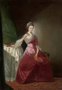 portrait of a lady in a red satin dress and silk headdress, seated at a table by edward alcock