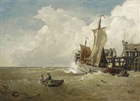 the harbour of ostend by andreas achenbach