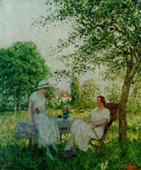 summer in the garden by marcel adolphe bain