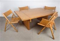 tisch rotis mit vier stühlen (set of 5) by otl aicher