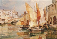sailing boats on a venetian backwater by angelo brombo