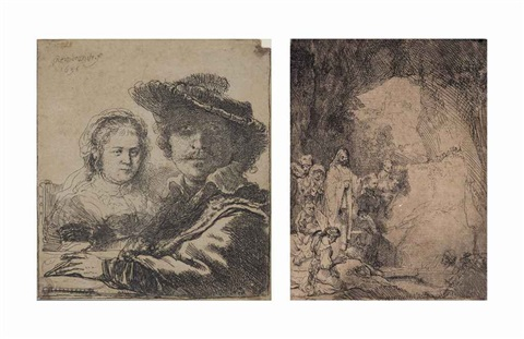 rembrandt with his wife saskia van uylenburgh the raising of lazarus the small plate 2 works by rembrandt van rijn