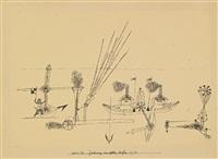 zeichnung zum gelben hafen (drawing for yellow harbor) by paul klee