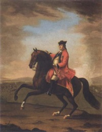 equestrian portrait of h.r.h. william augustus, duke of cumberland, seated on his charger, wearing uniform and the garter star, a battle beyond by david morier