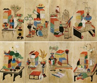 scholar's utensils (8 works) by anonymous-korean