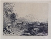 figure in a landscape by alphonse legros