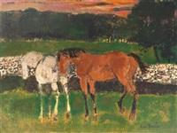 deux chevaux au printemps by andré brasilier