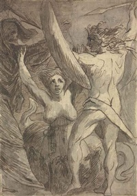 satan, sin and death: death and sin met by satan on his return from earth by james barry