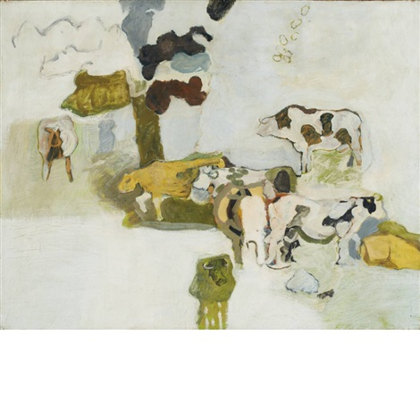 untitled cows in a field by lois dodd