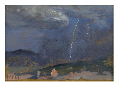 nocturne lighting in foothills by colin campbell cooper