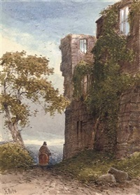 a traveller before a ruined castle (+ 64 others; 65 works) by henry pope