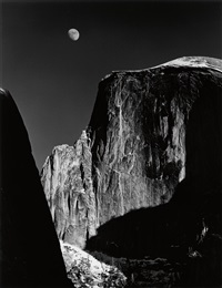 moon and half dome, yosemite national park by ansel adams