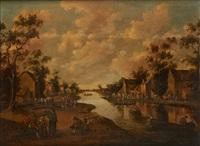 village de part et d'autre de la rivière by joost cornelisz droochsloot
