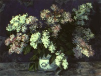 lilacs with a blue background by vladimir i. nekrasov