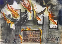 fire! fire! fire! (from the currier and ives suite) by salvador dalí