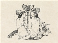 deux femmes maories accroupies (from l'epreuve--album d'art) by paul gauguin