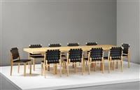 extendable h leg dining table, 1956 and ten dining chairs, model no. 612 by alvar aalto