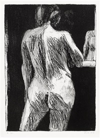 #17 (back view of standing nude woman with partial reflection) (from 41 etchings and drypoints) by richard diebenkorn