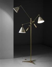 triennale' three-armed adjustable standard lamp, model no. 12128 by arredoluce (co.)