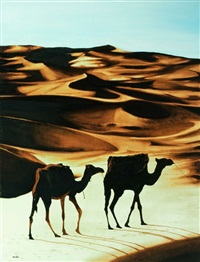 camels in the desert by amalia haas