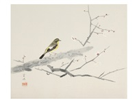 bird and white plum flower by kayo yamaguchi