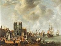 vue fantaisiste avec notre-dame et la tour de nesle dans un port by jan abrahamsz beerstraten