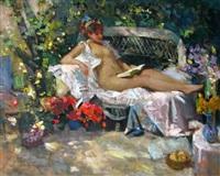 repos dans le jardin by vladimir litvinienko