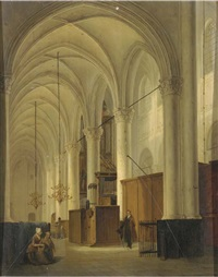 figures in an exalted church interior by bernardus van de laar