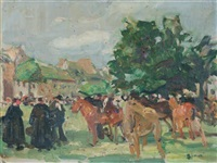 la foire aux chevaux (+ study, verso) by lucien simon