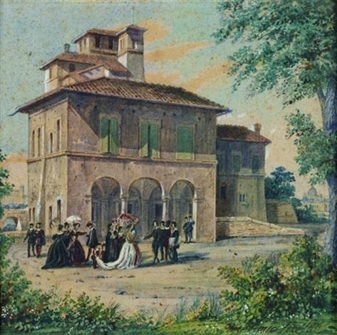 assemblée devant une villa romaine by domenico amici