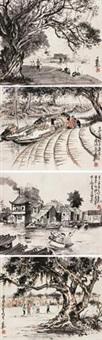 人物 (四幅) 镜心 设色纸本 (4 works) by ma cihang