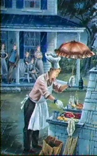 magazine cover. man tending barbeque in the rain.      saturday evening post by constantin alajalov