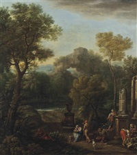 an italianate river landscape with figures conversing before classical ruins by john wootton
